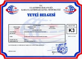 YETKİ BELGEMİZ Firmamız Ulaştırma Bakanlığı Kara Ulaştırma Genel Müdürlüğü tarafından verilen K3 türü yetki belgesine haizdir.